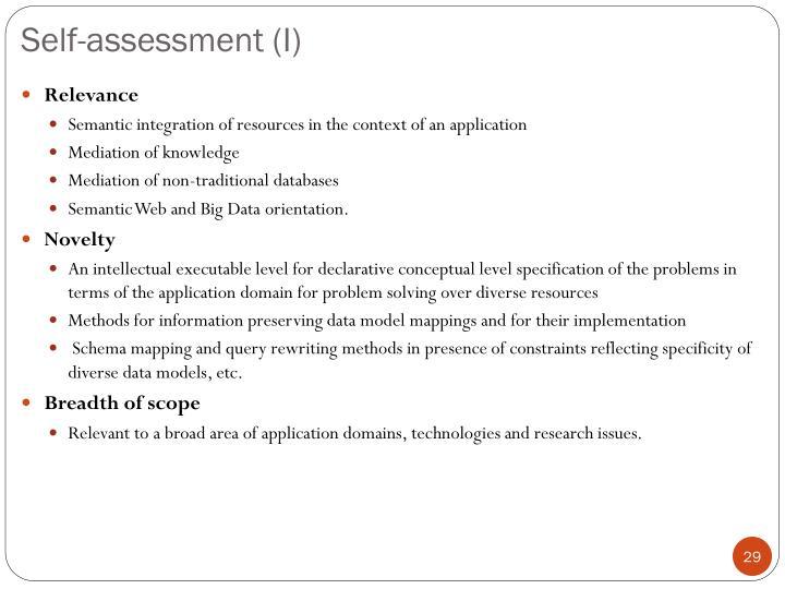 Self-assessment (I)