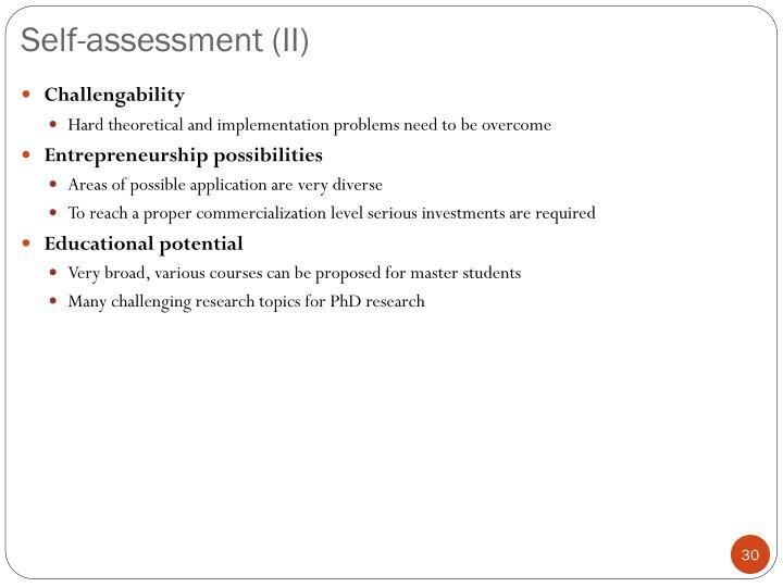 Self-assessment (II)
