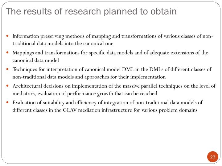 The results of research planned to obtain