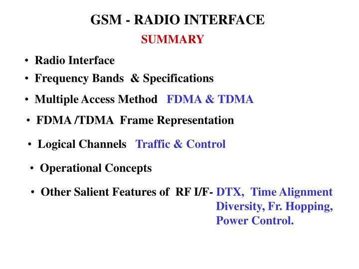 GSM - RADIO INTERFACE