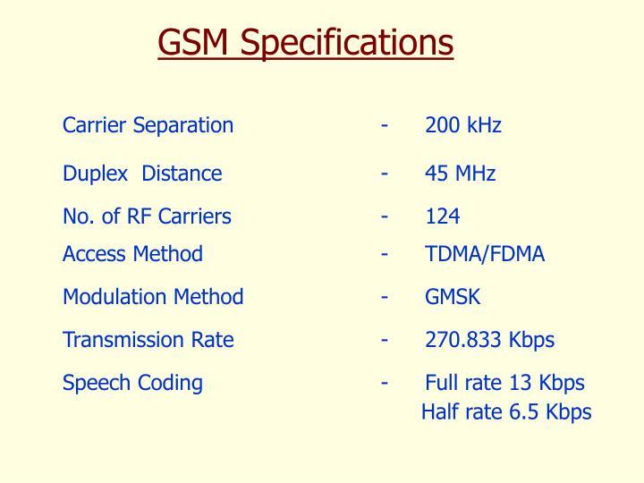 Carrier Separation              -200 kHz