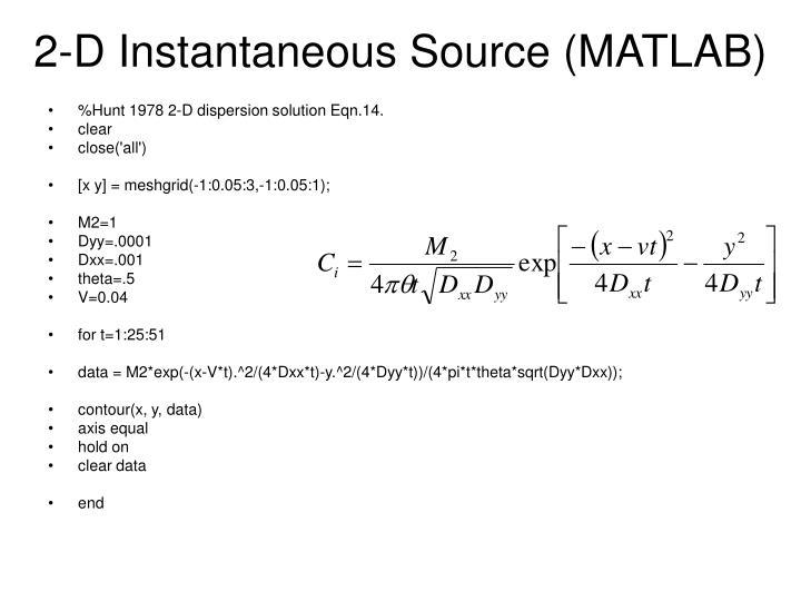 2-D Instantaneous Source (MATLAB)