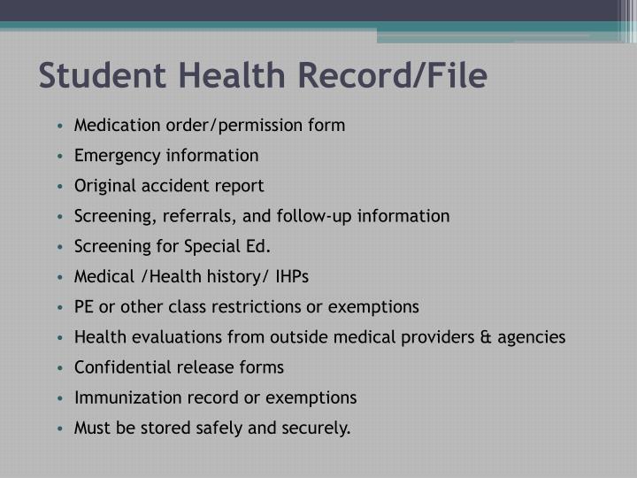 Student Health Record/File