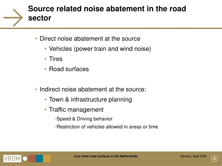 Source related noise abatement in the road sector