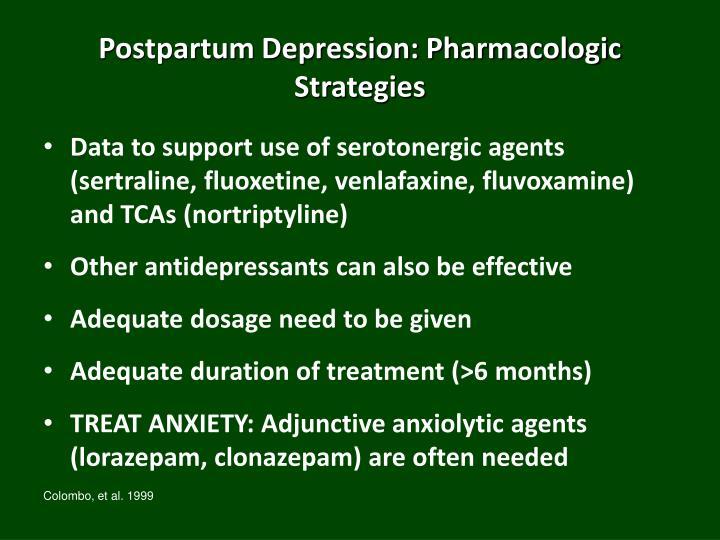 Postpartum Depression: Pharmacologic Strategies