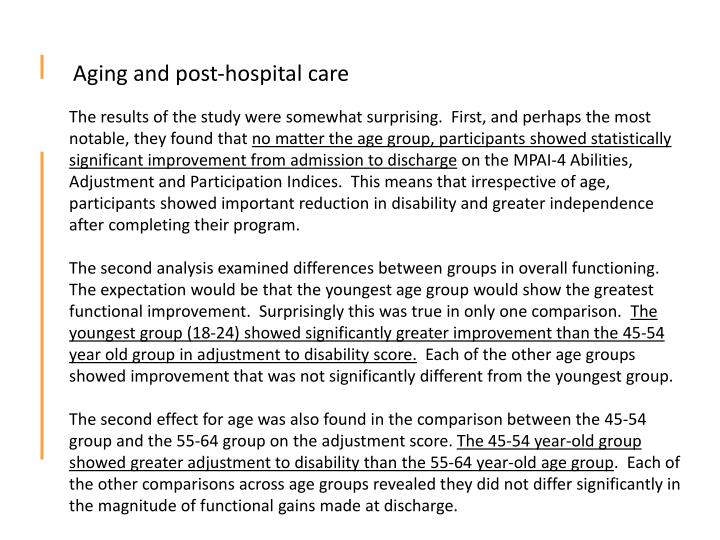 Aging and post-hospital care