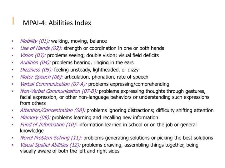 MPAI-4: Abilities Index