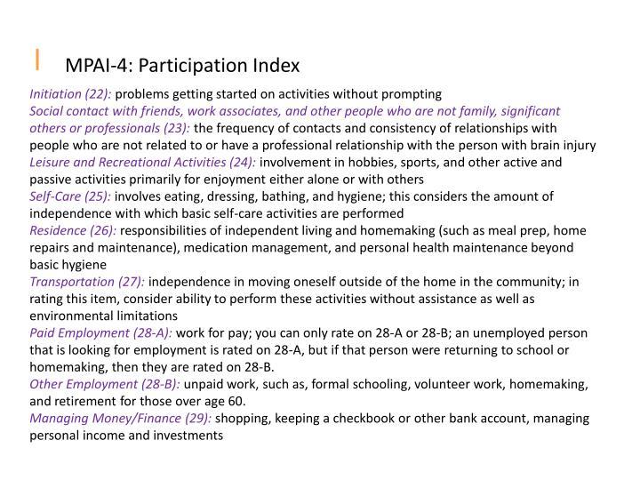 MPAI-4: Participation Index