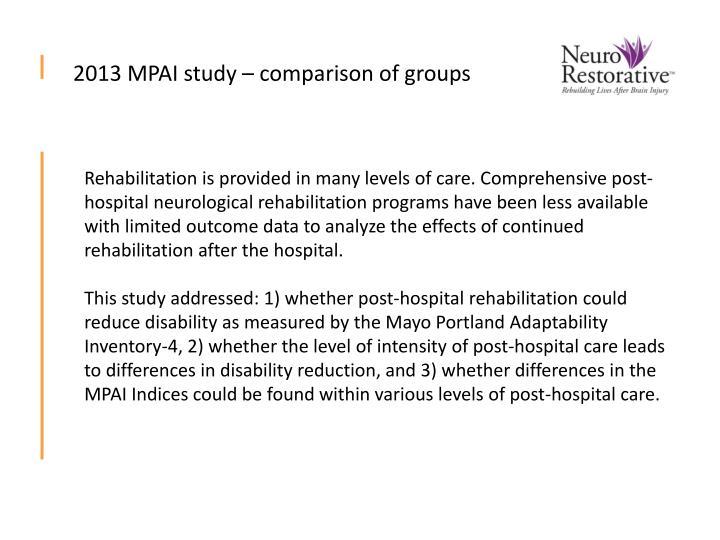2013 MPAI study – comparison of groups