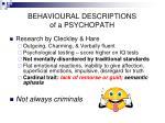 behavioural descriptions of a psychopath
