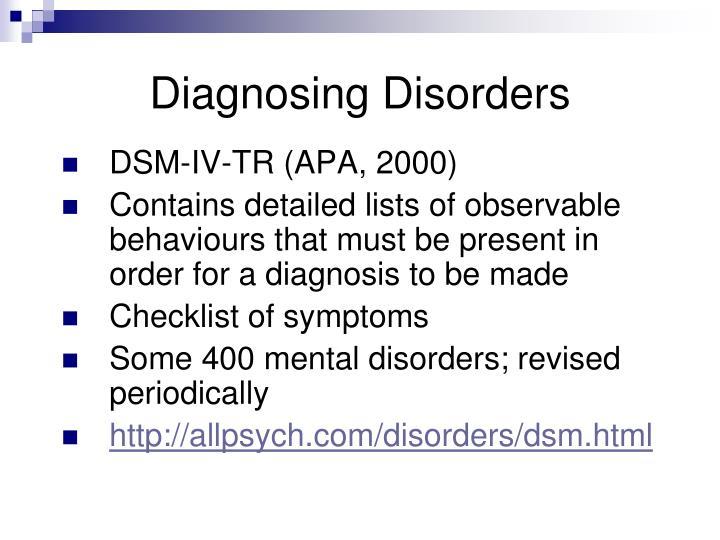 Diagnosing Disorders