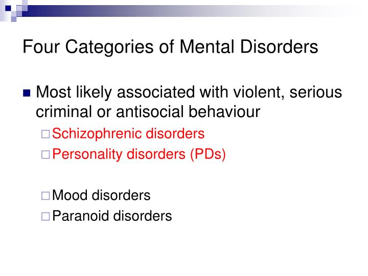 Four Categories of Mental Disorders