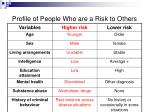 profile of people who are a risk to others