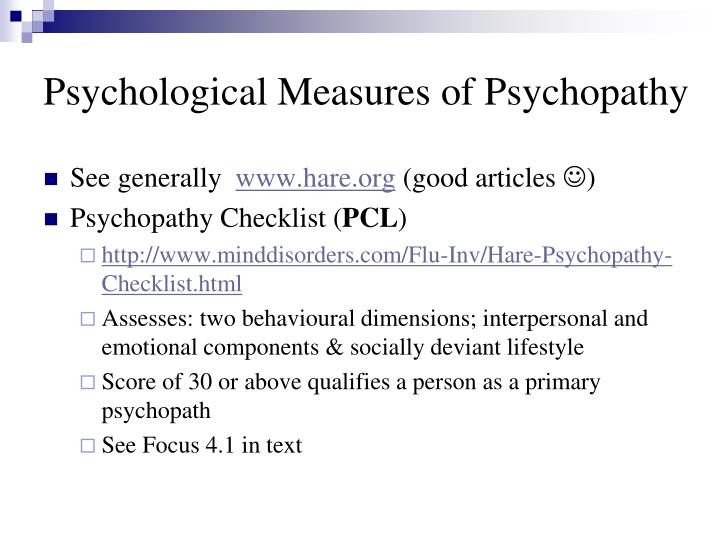 Psychological Measures of Psychopathy