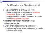 re offending and risk assessment