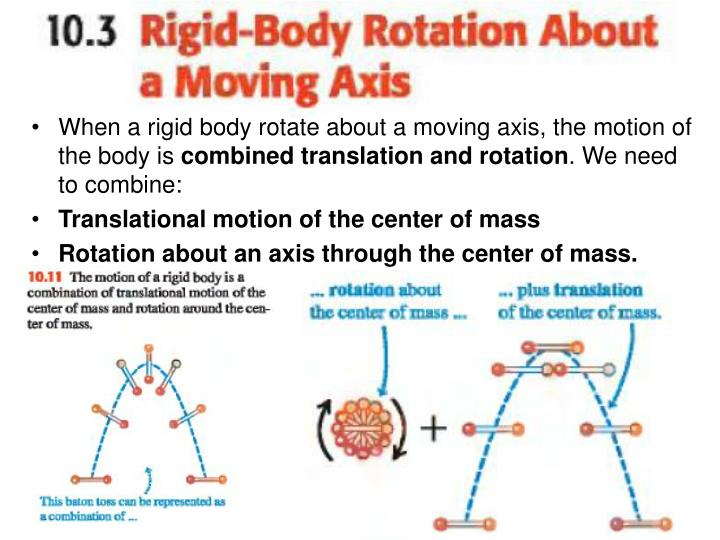 When a rigid body rotate about a moving axis, the motion of the body is