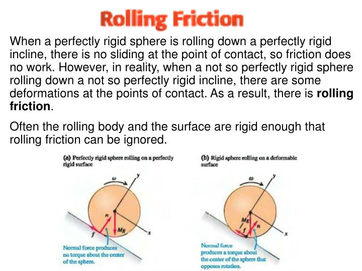 When a perfectly rigid sphere is rolling down a perfectly rigid incline, there is no sliding at the point of contact, so friction does no work. However, in reality, when a not so perfectly rigid sphere rolling down a not so perfectly rigid incline, there are some deformations at the points of contact. As a result, there is