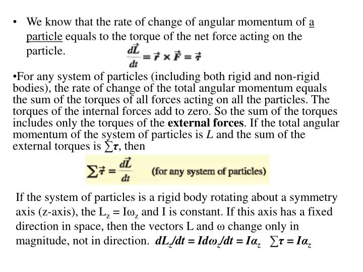 We know that the rate of change of angular momentum of