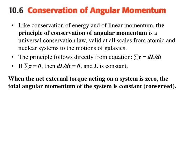 Like conservation of energy and of linear momentum,