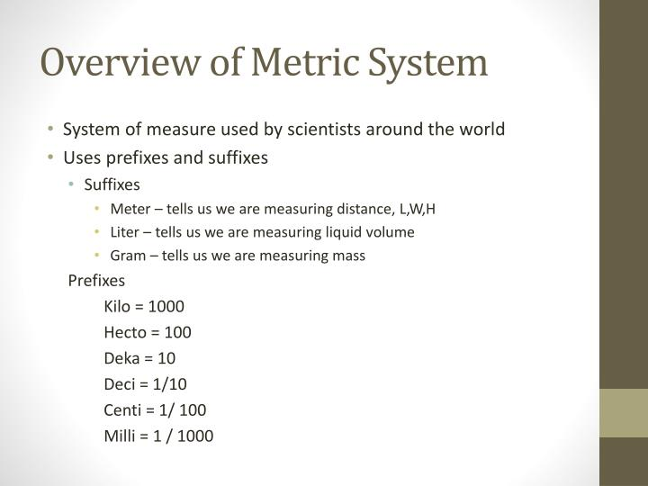 Overview of Metric System