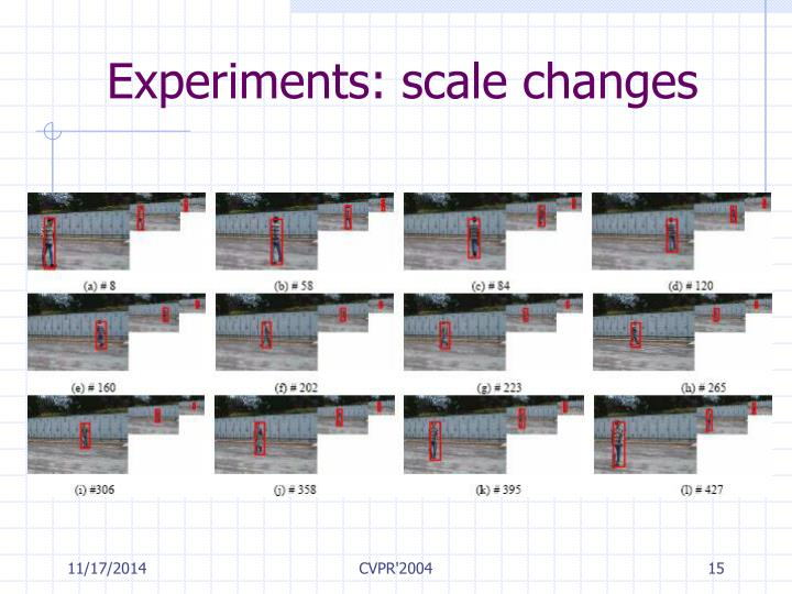Experiments: scale changes