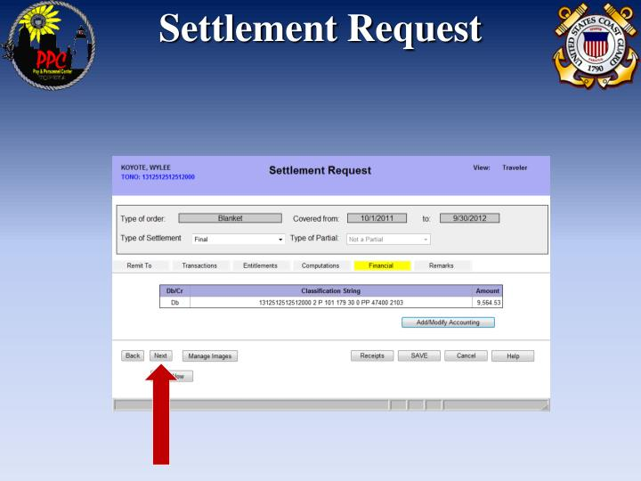 Settlement Request