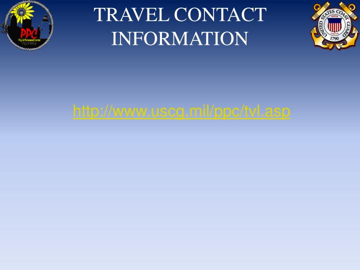 TRAVEL CONTACT INFORMATION