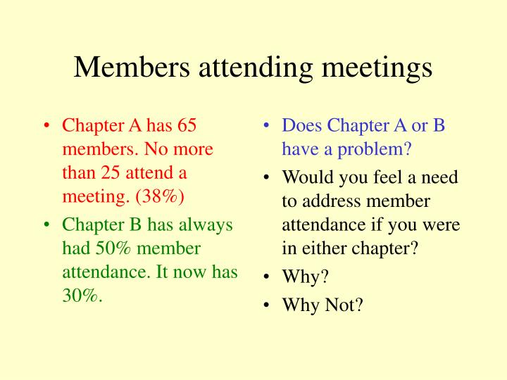 Chapter A has 65 members. No more than 25 attend a meeting. (38%)