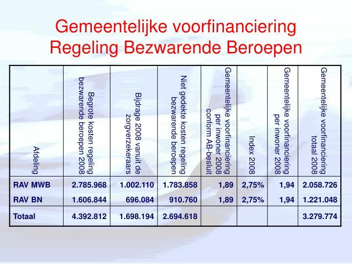 Gemeentelijke voorfinanciering Regeling Bezwarende Beroepen