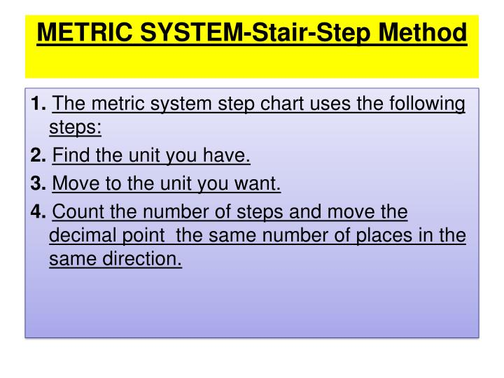METRIC SYSTEM-Stair-Step Method