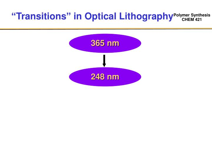 """""""Transitions"""" in Optical Lithography"""