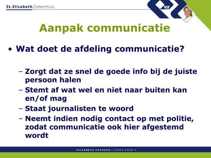 Aanpak communicatie
