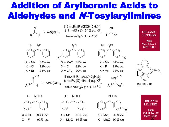 Addition of Arylboronic Acids to Aldehydes and