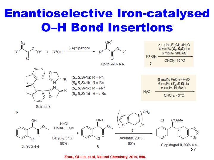 Enantioselective Iron-catalysed O–H Bond Insertions