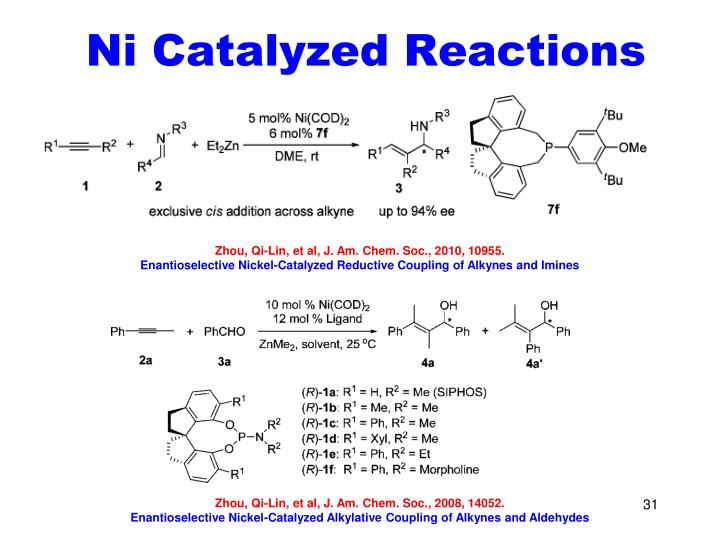 Ni Catalyzed Reactions