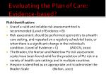 evaluating the plan of care evidence based