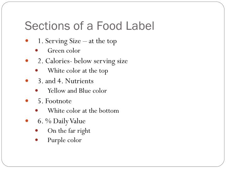 Sections of a food label
