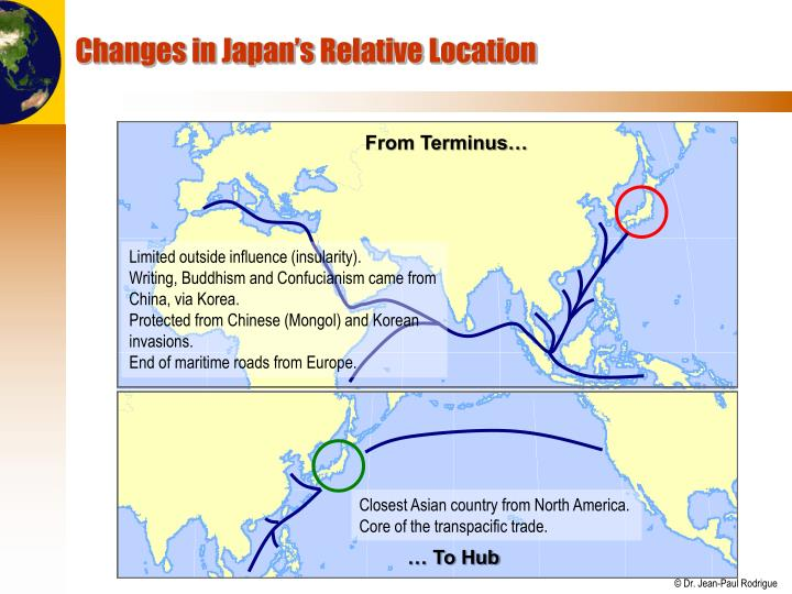 Changes in Japan's Relative Location