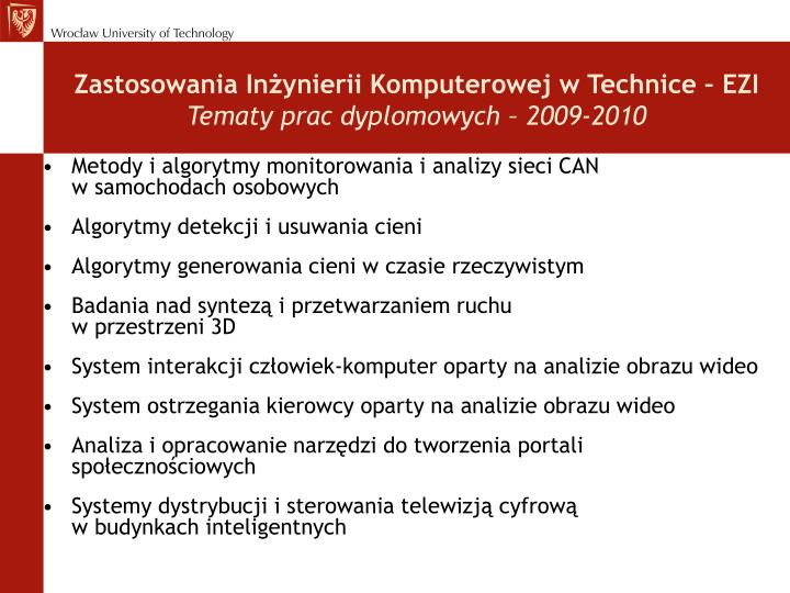 Zastosowania Inżynierii Komputerowej w Technice – EZI
