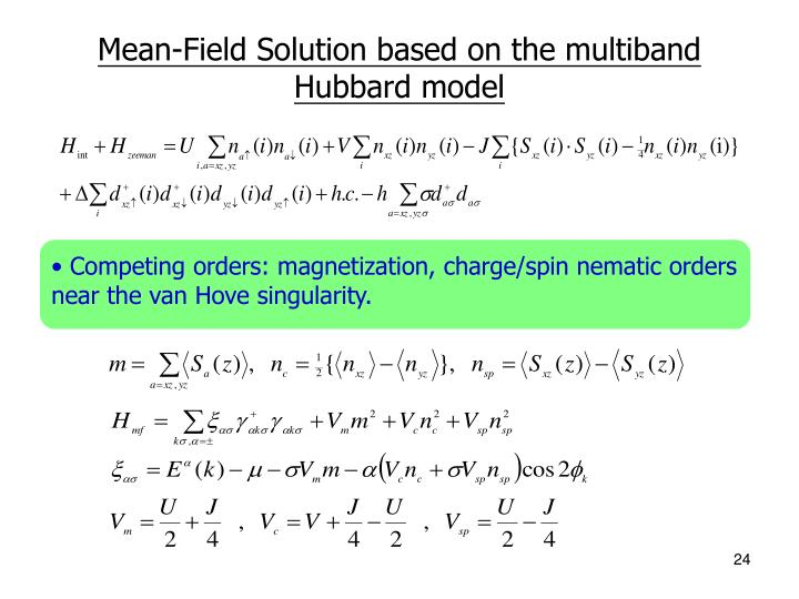 Mean-Field Solution based on the multiband Hubbard model
