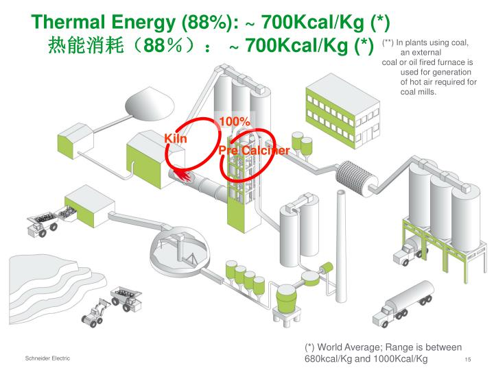 Thermal Energy (88%): ~ 700Kcal/Kg (*)