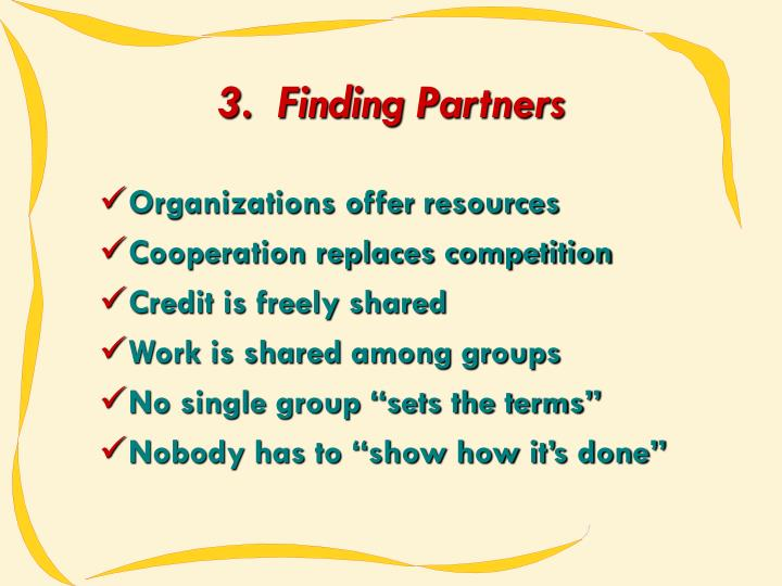3.  Finding Partners