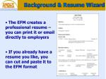 background resume wizard