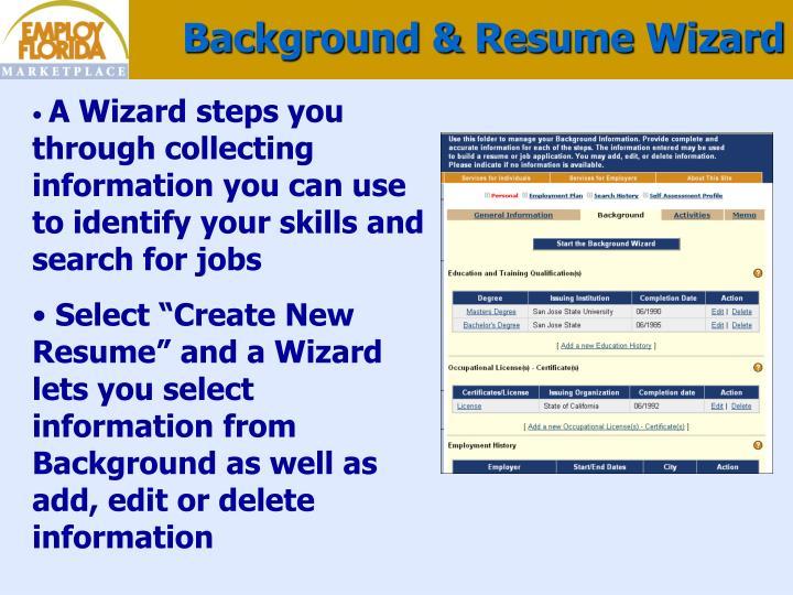 Background & Resume Wizard