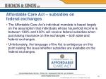 affordable care act subsidies on federal exchanges