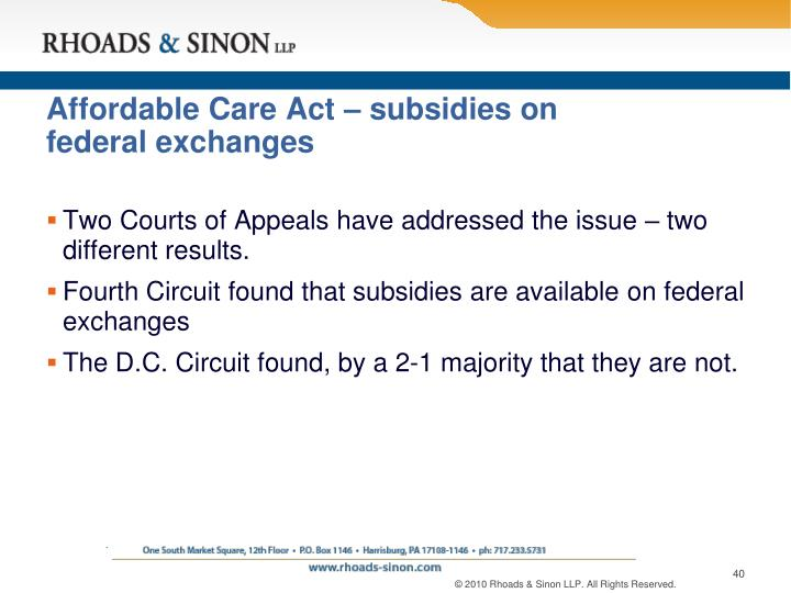Affordable Care Act – subsidies on federal exchanges