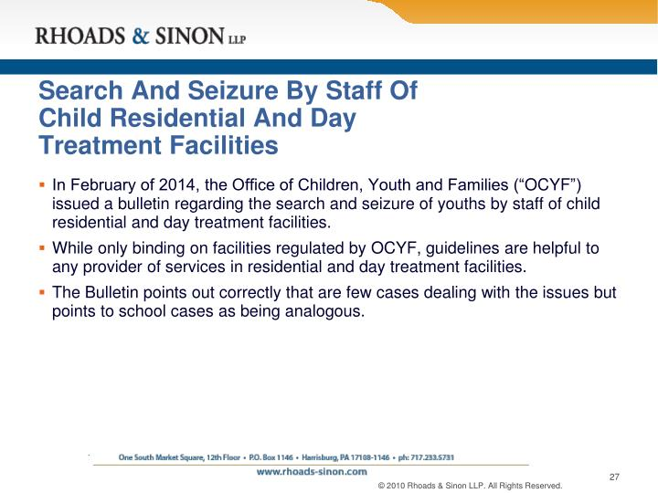 Search And Seizure By Staff Of Child Residential And Day Treatment Facilities