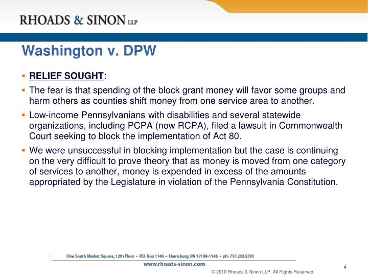 Washington v. DPW