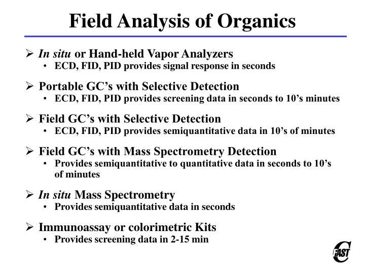 Field Analysis of Organics