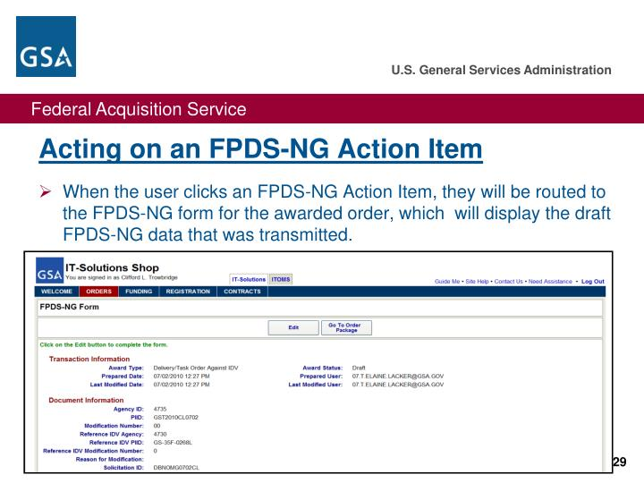 Acting on an FPDS-NG Action Item